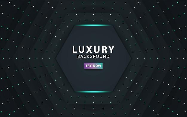 Luksusowe premium ciemne abstrakcyjne warstwy nakładki tło realistyczny efekt świetlny na teksturowanym tle czarnego pięciokąta i kropek. z niebieską linią. cyfrowy szablon,.