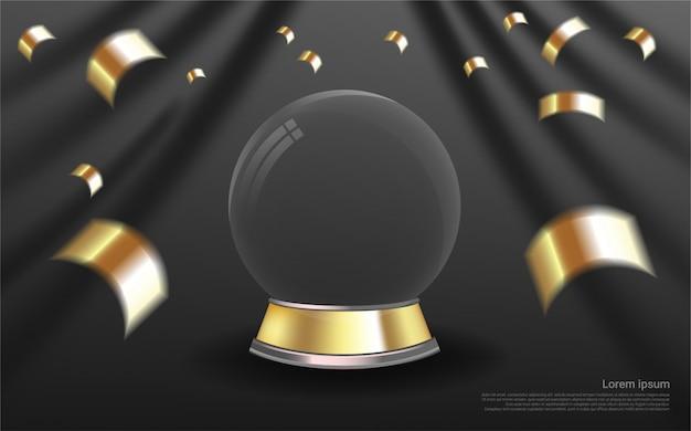 Luksusowe realistyczne szklanej kuli na tle kurtyny.