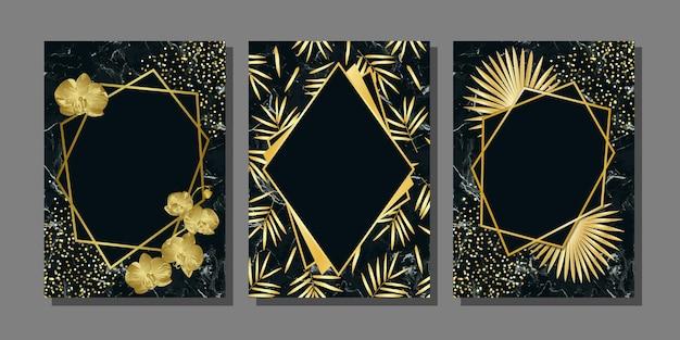 Luksusowe szablony ze złotymi roślinami i kwiatami