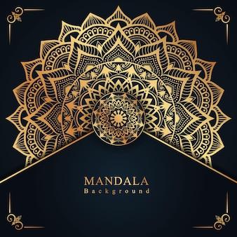 Luksusowe tło dekoracji mandali na zaproszenie i wesele