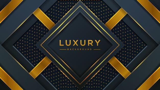 Luksusowe tło łączy się z ciemnymi i złotymi elementami świecącymi liniami