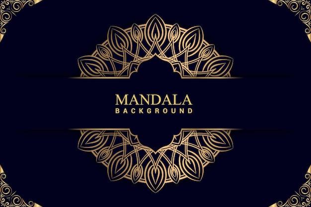 Luksusowe tło mandali w złotym kolorze premium wektorów