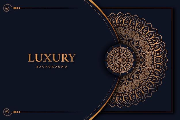 Luksusowe tło mandali z piękną złotą arabeską