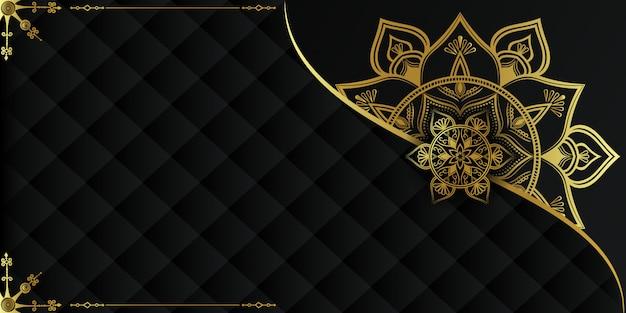 Luksusowe tło mandali ze złotą arabeską