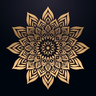 Luksusowe tło mandali ze złotym arabeska arabskim stylu wschodnim