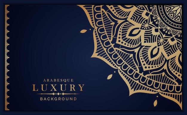 Luksusowe tło mandali ze złotym arabeskowym stylem