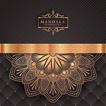 Luksusowe tło mandali ze złotym arabeskowym wzorem arabskim islamskim stylem