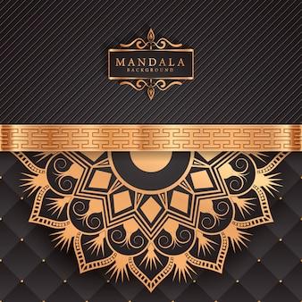 Luksusowe tło mandali ze złotym arabeskowym wzorem arabskim islamskim wschodnim stylem