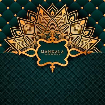 Luksusowe tło mandali ze złotym wzorem arabeski
