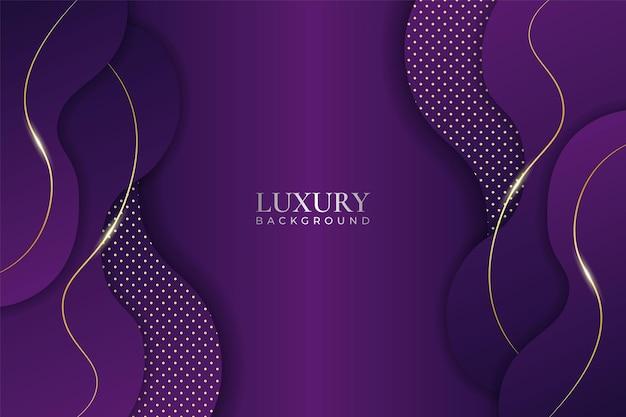 Luksusowe tło nakładające się na fioletowy dynamiczny kształt z efektem blasku złotej linii