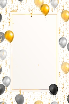 Luksusowe tło pionowe z jasnym złotym serpentynem, konfetti i balony
