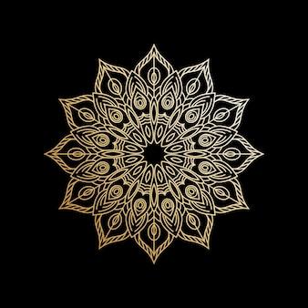 Luksusowe tło wzór mandali w złotym kolorze