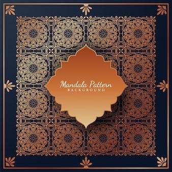 Luksusowe tło wzór mandali ze złotymi arabeskowymi ornamentami arabski islamski styl wschodu