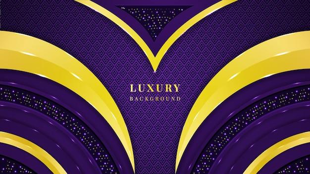 Luksusowe tło z fioletowymi i złotymi kolorami kształtów, ozdób i świateł
