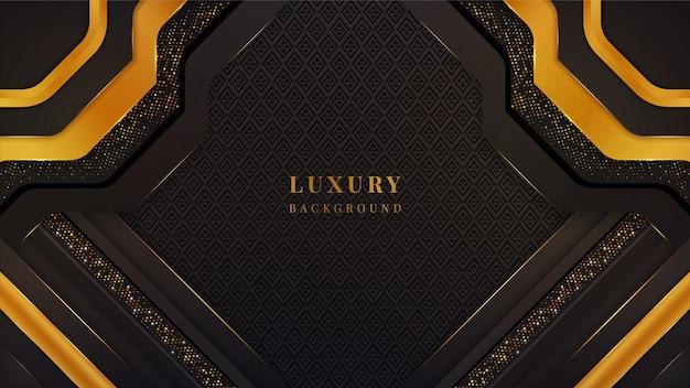 Luksusowe tło z geometrycznymi kształtami, światłami, błyskami i efektem blasku w kolorze czarnym i złotym.