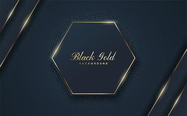 Luksusowe tło z ilustracjami czarnych sześciokątnych kształtów ze złotym konturem na krawędziach.