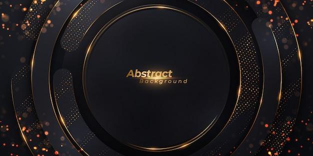 Luksusowe tło z okrągłym kształcie i złotym wzorem półtonów.