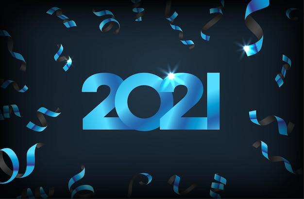 Luksusowe tło z spadającymi konfetti. szczęśliwa nowa koncepcja 2021 roku