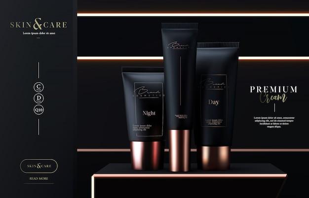 Luksusowe tuby kosmetyczne pakują krem do pielęgnacji skóry. maseczka do twarzy, kosmetyk kosmetyczny