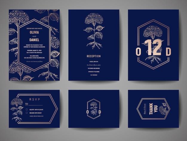 Luksusowe wesele zapisz datę, kolekcja zaproszeń marynarki wojennej z kwiatami ze złotej folii i modnym szablonem projektu monogram logo