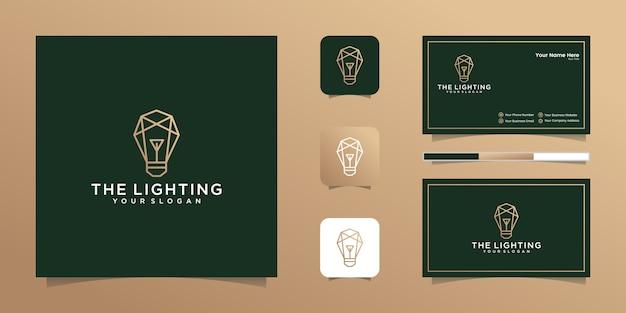 Luksusowe wielokątne logo żarówki i wizytówki