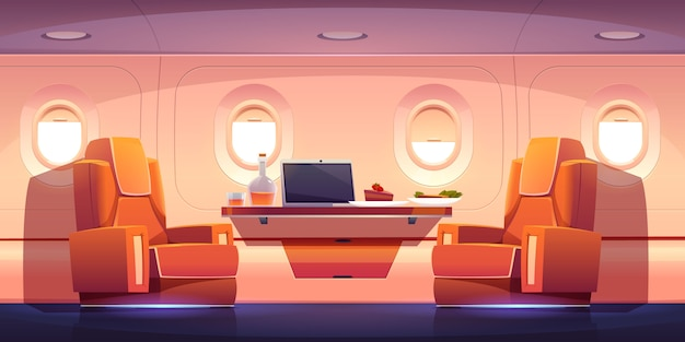 Luksusowe wnętrze prywatnego odrzutowca z fotelami