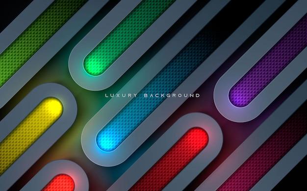 Luksusowe zaokrąglone warstwy wymiarowe tła kolorowe musujące światło