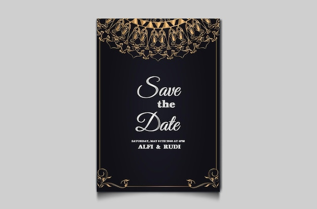 Luksusowe Zaproszenie Na ślub Kwiatowy Premium Wektorów