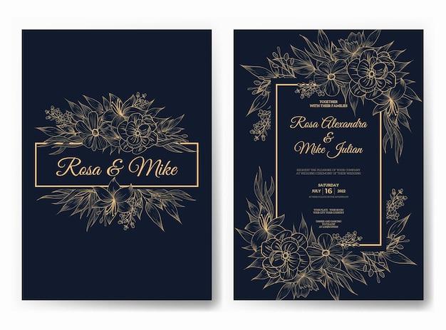 Luksusowe zaproszenie na ślub z pięknym szablonem kwiatowym linii