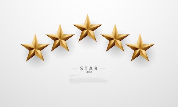 Luksusowe złote gwiazdy 3d wirtualny projekt