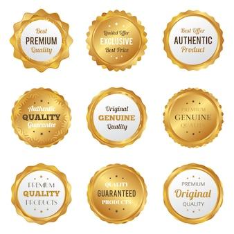 Luksusowe złote odznaki i etykiety najwyższej jakości produktu