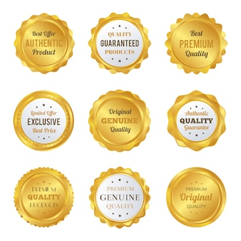 Luksusowe Złote Odznaki I Etykiety Najwyższej Jakości Produktu Premium Wektorów