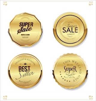 Luksusowe złote odznaki i etykiety premium