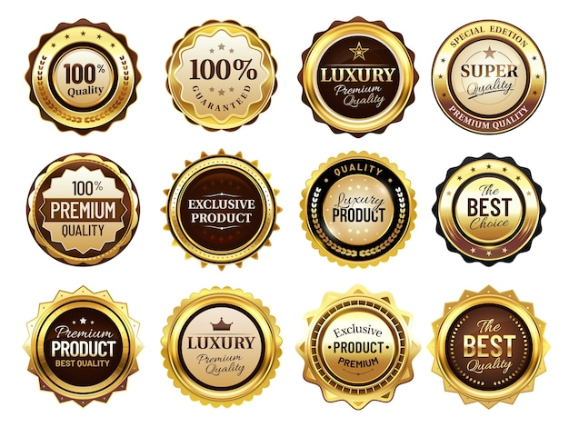 Luksusowe złote odznaki. znaczek jakości premium, złote etykiety i odznaka najlepszej oferty.