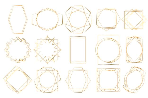 Luksusowe złote ramki ustawiają kolekcję liniowych wielokątnych kształtów na białym tle