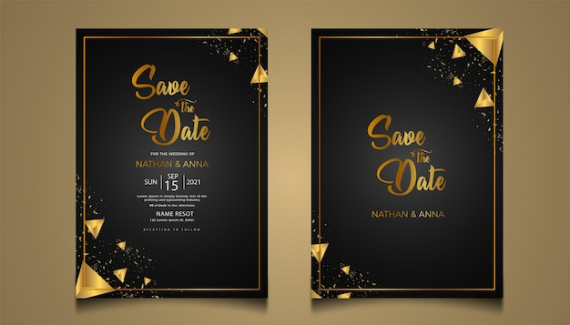 Luksusowe złote zaproszenia ślubne scenografia