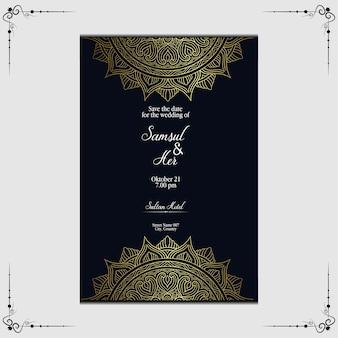Luksusowe złote zaproszenie na ślub mandali.