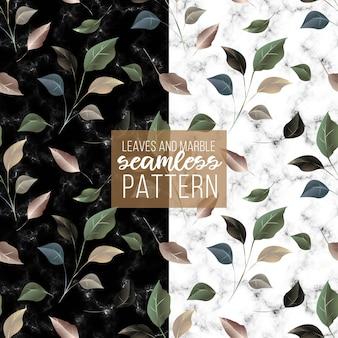 Luksusowe złote zielone liście marmur tekstura wzór
