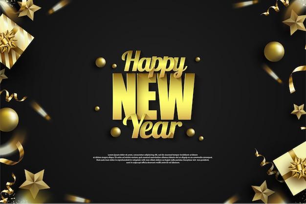Luksusowe złoto szczęśliwego nowego roku pisania