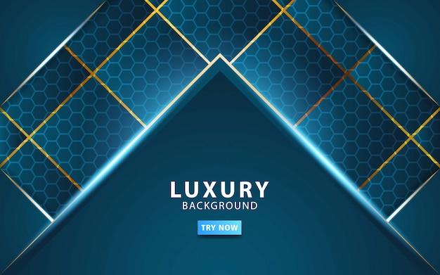 Luksusowej abstrakcjonistycznej technologii błękitny wektorowy tło z złotą linią.