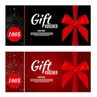 Luksusowi członkowie, szablon karty podarunkowej na świąteczną kartę podarunkową, kupon i certyfikat ze wstążkami i pudełko upominkowe dla twojej firmy