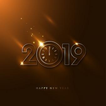 Luksusowy 2019 nowy rok z rocznika zegarem