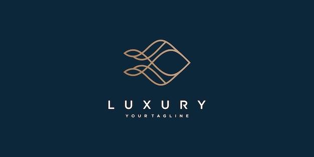Luksusowy abstrakcyjny liniowy projekt logo z unikalnym kształtem premium wektor