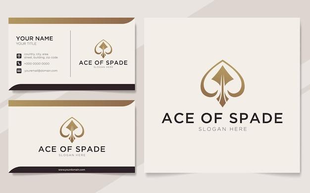 Luksusowy as of spade konspektu logo i szablonu wizytówki