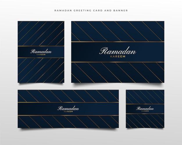 Luksusowy baner i kartka z pozdrowieniami ze złotą i niebieską kompozycją w stylu cięcia papieru na powitanie ramadan kareem