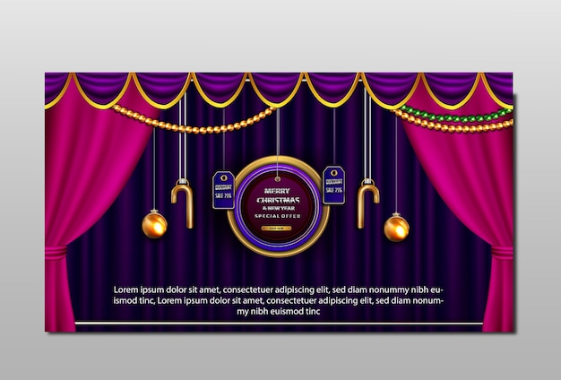 Luksusowy baner rabatowy wesołych świąt i nowego roku