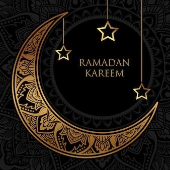 Luksusowy baner ramadan kareem ze złotym półksiężycem i ornamentem gwiazd