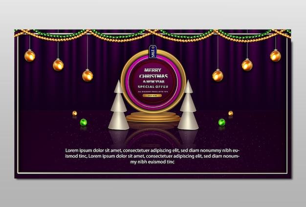 Luksusowy baner sprzedaży wesołych świąt i nowego roku
