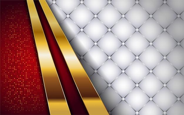 Luksusowy biały i czerwony ze złotym tłem linii