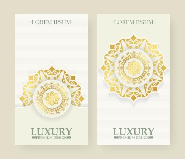 Luksusowy biały i gol banner mandali
